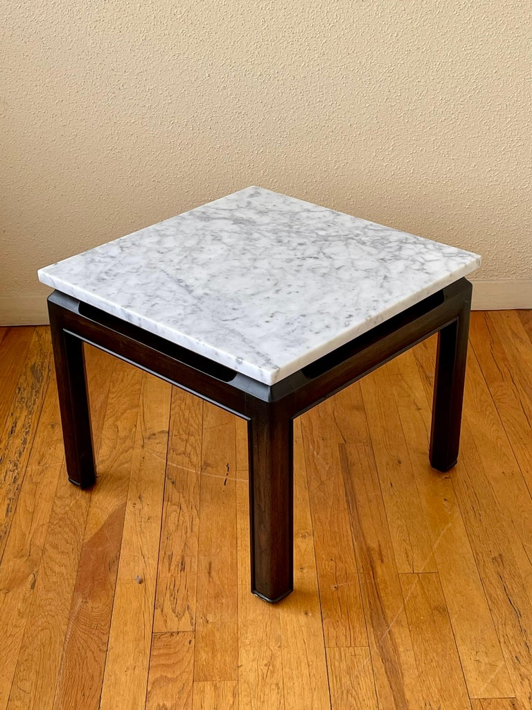 Pair of Michael Taylor End Tables in Marble & Wood Base by Baker Furniture In Good Condition For Sale In San Diego, CA