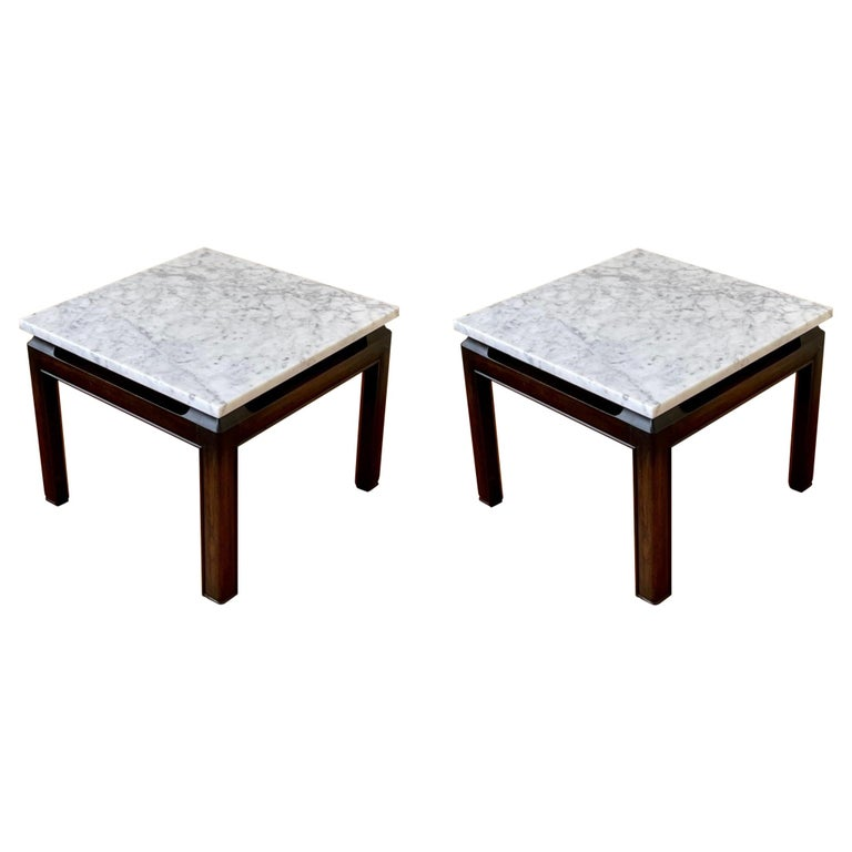 Pair of Michael Taylor End Tables in Marble & Wood Base by Baker Furniture For Sale