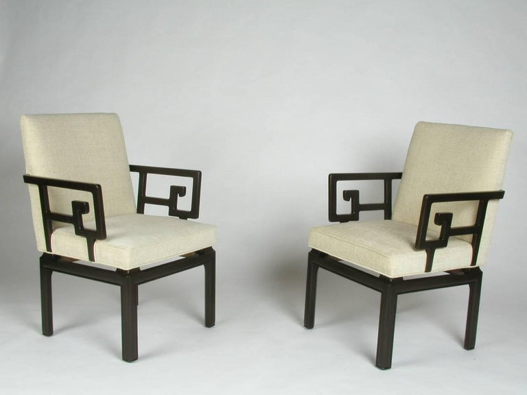 Mid-Century Modern Pair of Michael Taylor for Baker Greek Key Armchairs Far East Collection For Sale