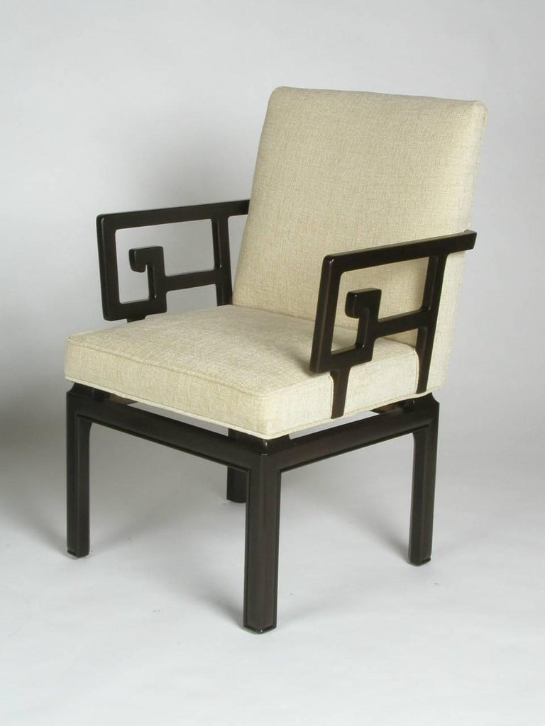 American Pair of Michael Taylor for Baker Greek Key Armchairs Far East Collection For Sale