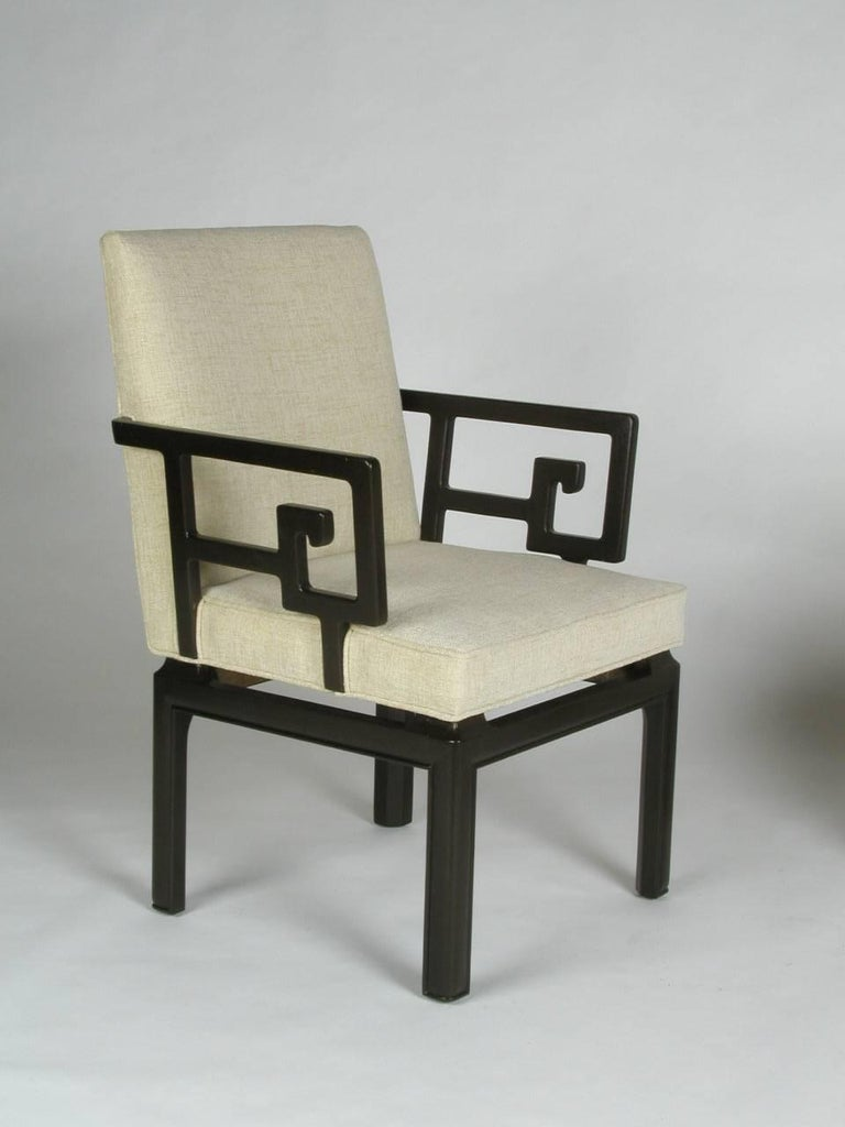Pair of Michael Taylor for Baker Greek Key Armchairs Far East Collection In Excellent Condition For Sale In St. Louis, MO