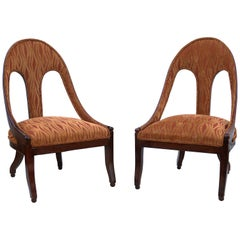 Pair of Michael Taylor for Baker Midcentury Spoon Back Slipper Lounge Chairs