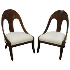 Pair of Michael Taylor for Baker Midcentury Spoonback Klismos Slipper Chairs