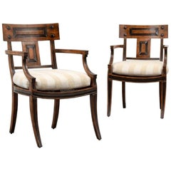 Pair of Michael Taylor Klismos Arm Chairs in Fruitwood and Ebony