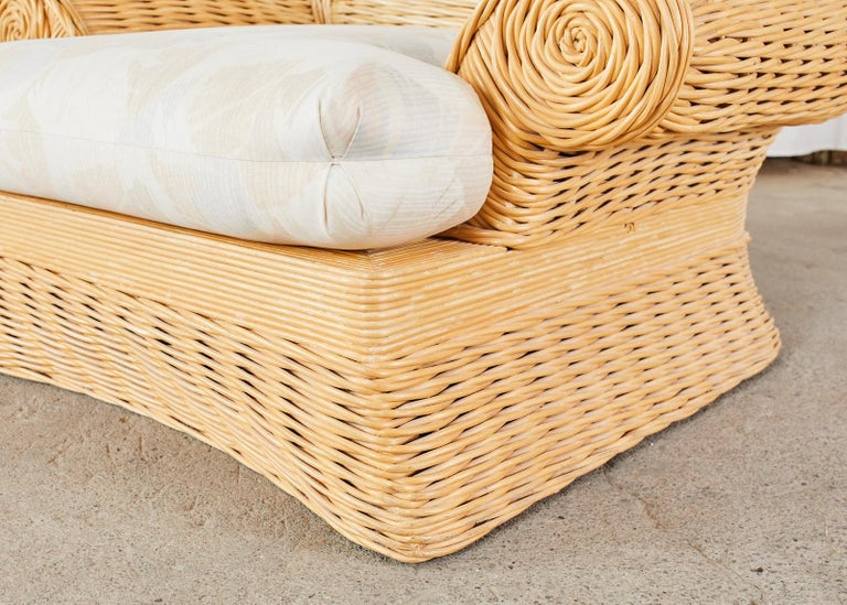 Pair of Michael Taylor Style Woven Rattan Lounge Chairs For Sale 4