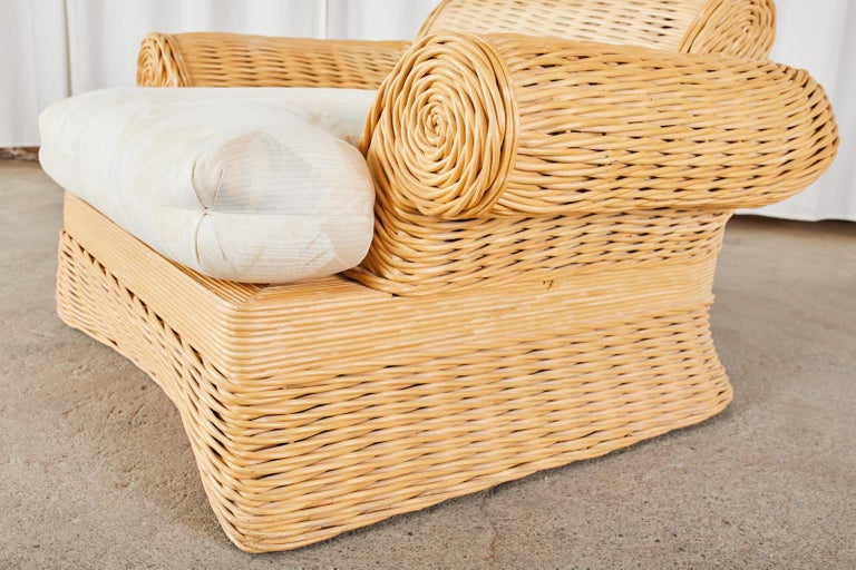 Pair of Michael Taylor Style Woven Rattan Lounge Chairs For Sale 6