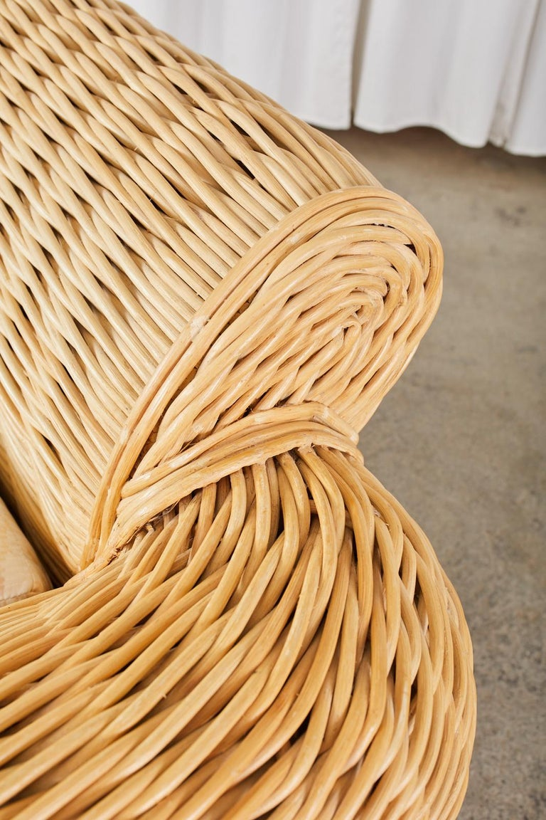 Pair of Michael Taylor Style Woven Rattan Lounge Chairs For Sale 7