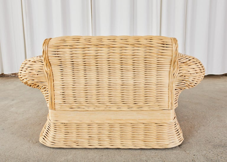Pair of Michael Taylor Style Woven Rattan Lounge Chairs For Sale 8