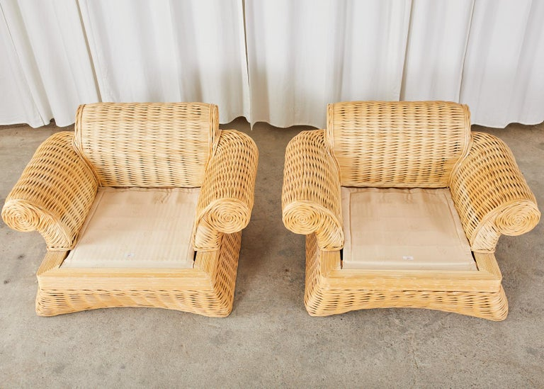 Pair of Michael Taylor Style Woven Rattan Lounge Chairs For Sale 10