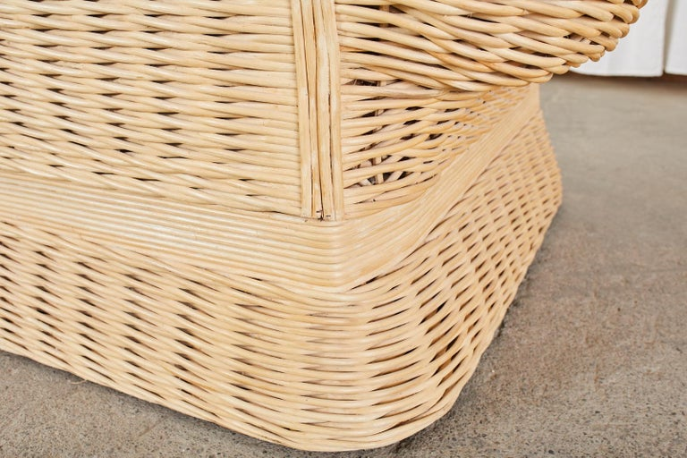 Pair of Michael Taylor Style Woven Rattan Lounge Chairs For Sale 11