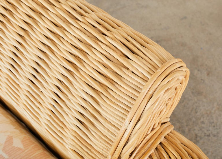 Pair of Michael Taylor Style Woven Rattan Lounge Chairs For Sale 12