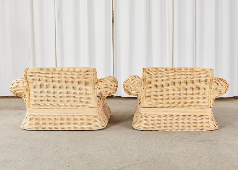 Pair of Michael Taylor Style Woven Rattan Lounge Chairs For Sale 13