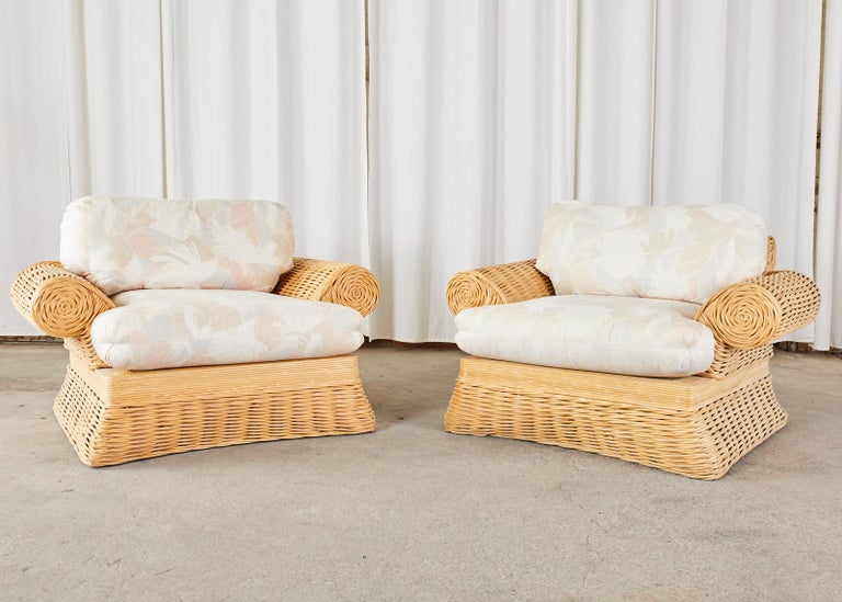 Hollywood Regency Pair of Michael Taylor Style Woven Rattan Lounge Chairs For Sale