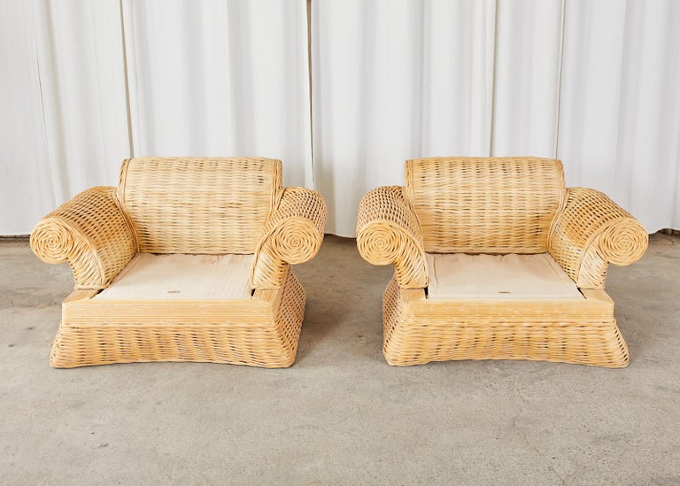 American Pair of Michael Taylor Style Woven Rattan Lounge Chairs For Sale