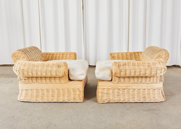 Pair of Michael Taylor Style Woven Rattan Lounge Chairs In Good Condition For Sale In Rio Vista, CA