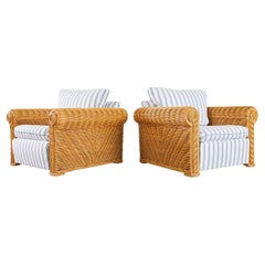 Pair of Michael Taylor Style Woven Rattan Lounge Chairs