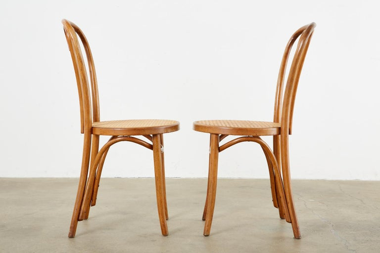 Vintage Early 1900s from Romania Thonet Bentwood A16 candy Cane heart dining chairs bistro chairs  Cafe chairs set of 4  bended wood seating