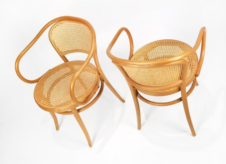 Bauhaus Pair of Michael Thonet Solid Beechwood and Cane no. 209 Armchairs For Sale