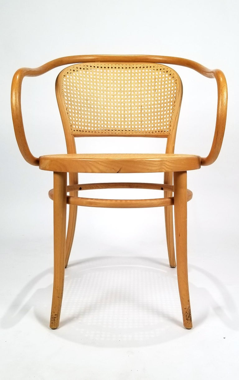 Austrian Pair of Michael Thonet Solid Beechwood and Cane no. 209 Armchairs For Sale
