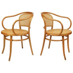 Pair of Michael Thonet Solid Beechwood and Cane no. 209 Armchairs