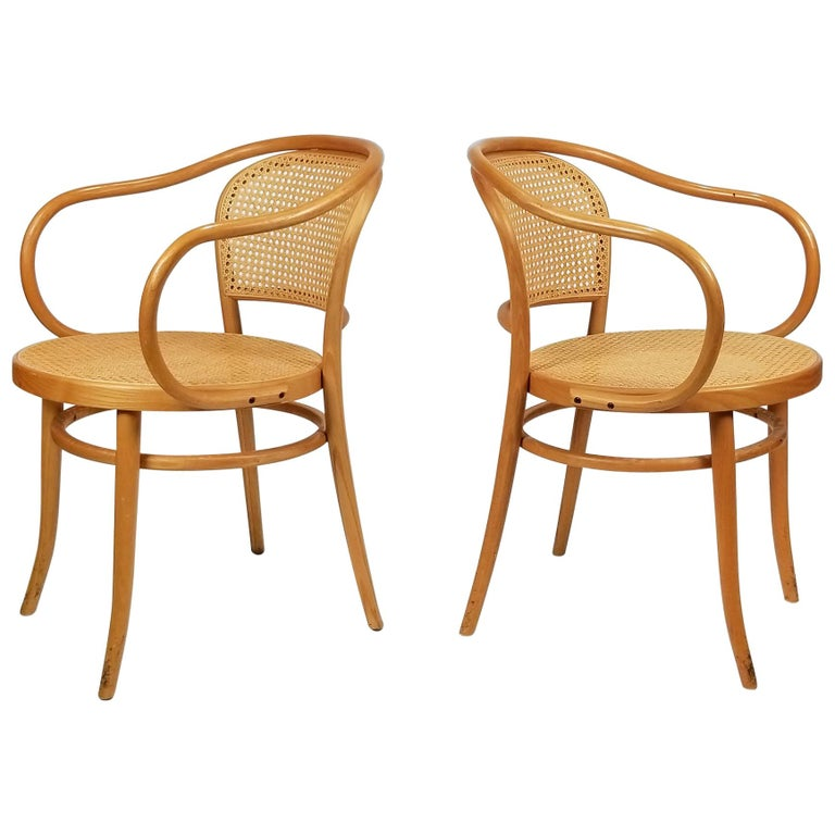 Pair of Michael Thonet Solid Beechwood and Cane no. 209 Armchairs For Sale