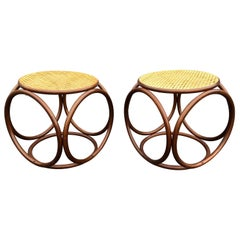 Pair of Michael Thonet Stools Ottomans, Side Tables Cane and Bentwood Brown