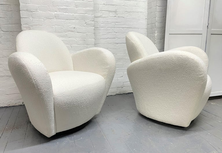 Mid-Century Modern Pair of Michael Wolk Swivel Lounge Chairs For Sale