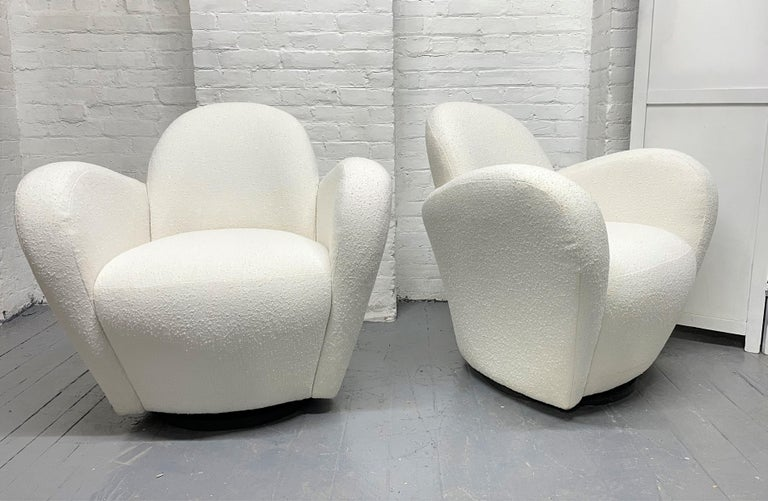 Wood Pair of Michael Wolk Swivel Lounge Chairs For Sale