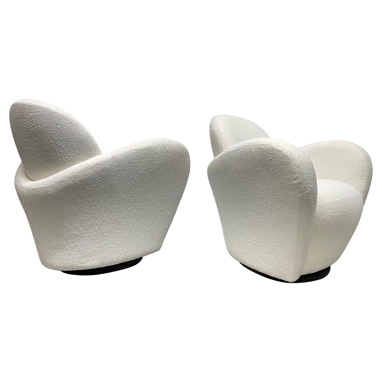 Pair of Michael Wolk Swivel Lounge Chairs