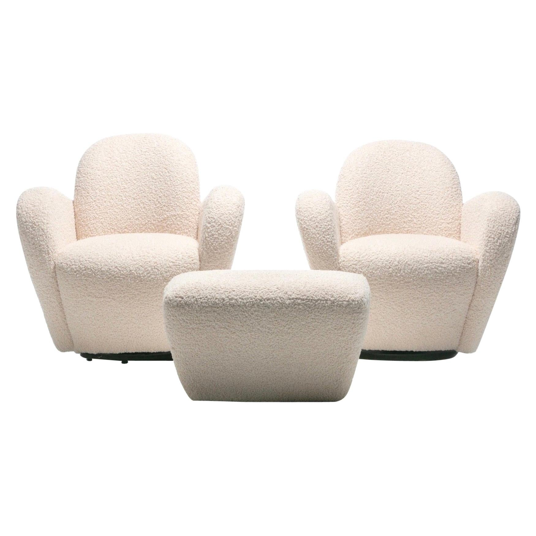 Pair of Michael Wolk Swivel Lounge Chairs in Ivory Bouclé with En-Suite Ottoman