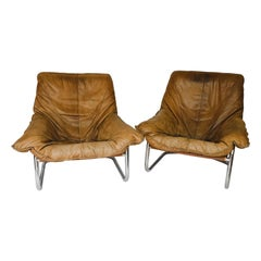 Pair of Michel Ducaroy Buffalo Leather Lounge Chairs