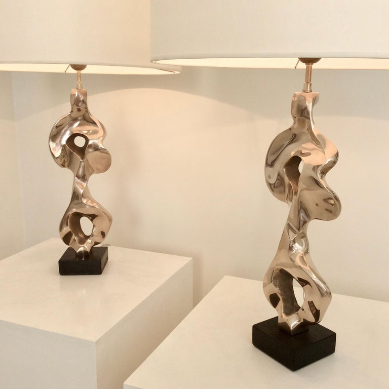 Nice Michel Jaubert organic form bronze table lamps, circa 1975, France.