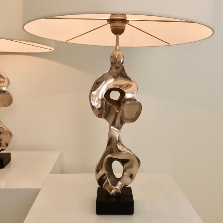 Pair of Michel Jaubert Sculptural Bronze Table Lamps, circa 1975, France In Good Condition For Sale In Brussels, BE