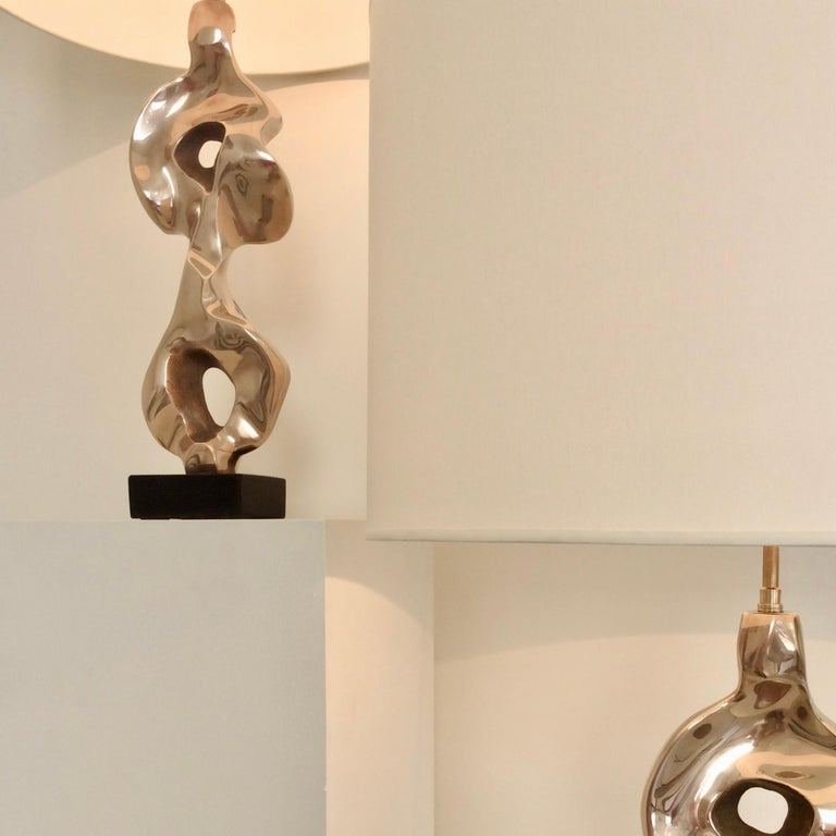 Late 20th Century Pair of Michel Jaubert Sculptural Bronze Table Lamps, circa 1975, France For Sale