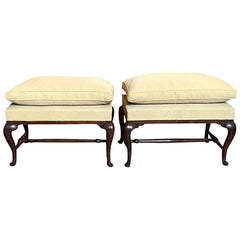 Pair of Mid-18th Century Italian Antique Hand-Carved Walnut Upholstered Benches