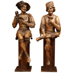 """Pair of Mid-18th Century Italian Carved Walnut Sculptures """"The Cards Players"""""""