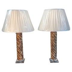 Pair of Mid-18th Century Italian Giltwood Column Lamps
