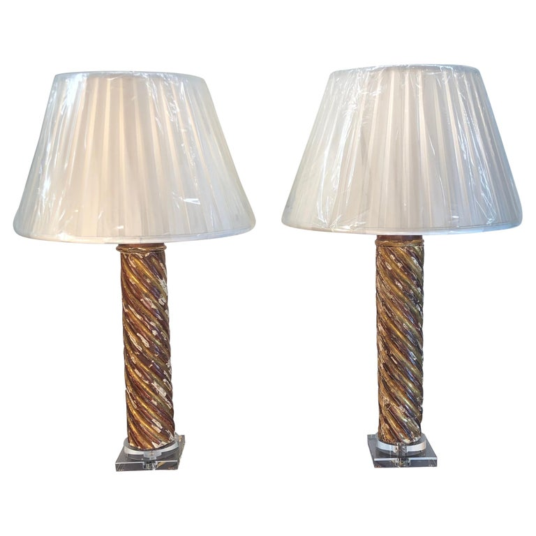 Pair of Mid-18th Century Italian Giltwood Column Lamps For Sale