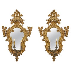 Pair of Mid-18th Century Italian Mirrored Giltwood Electrified Sconces