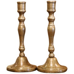 Pair of Mid-18th Century Louis XIV French Bronze Candlesticks