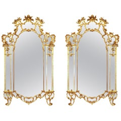 Pair of Mid-18th Century, Tuscan Giltwood Mirrors, circa 1740