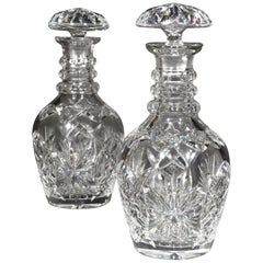 Pair of Mid-19th Century Anglo Irish Cut-Glass Decanters, England, circa 1840