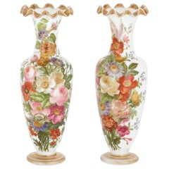 Pair of Mid-19th Century Baccarat Enameled Glass Vases