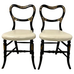 Pair of Mid-19th Century Black Lacquer Chairs with Mother of Pearl Inlay