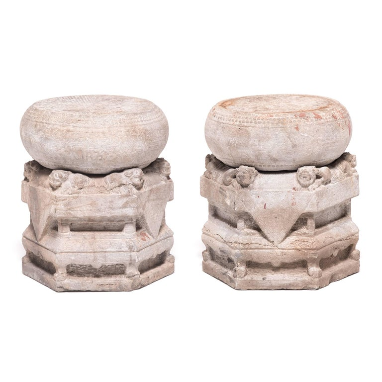 Pair of Mid-19th Century Chinese Limestone Column Bases
