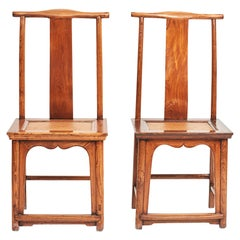 Pair of Mid-19th Century Chinese Ming Style Chairs in Jumu Wood with Wicker Seat