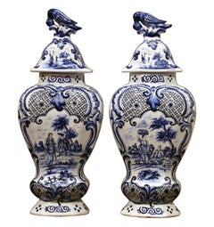 Pair of Mid-19th Century French Blue and White Faience Delft Vases with Lids
