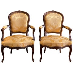 Pair of Mid-19th Century French Carved Fauteuils Armchairs
