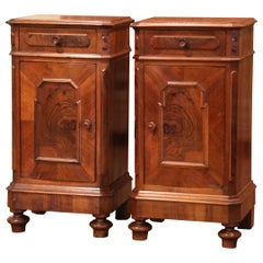 Pair of Mid-19th Century French Louis Philippe Walnut and Burl Bedside Tables