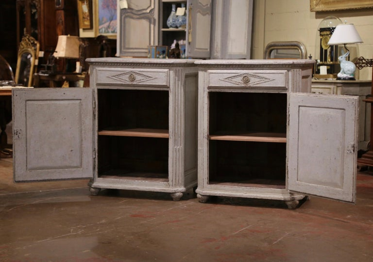 Pair of Mid-19th Century French Louis XIV Carved Hand Painted Jelly Cabinets 3